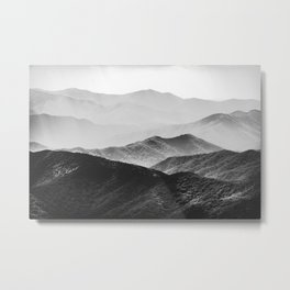 Glimpse - Black and White Mountains Landscape Nature Photography Metal Print