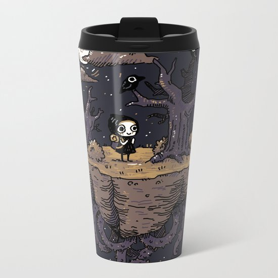Dark Wood Metal Travel Mug