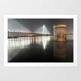 Stan Musial Veterans Memorial Bridge at Night - St. Louis Missouri Art Print