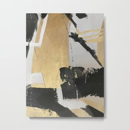 Gold leaf black abstract Metal Print