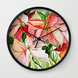 Pink Poinsettias Wall Clock