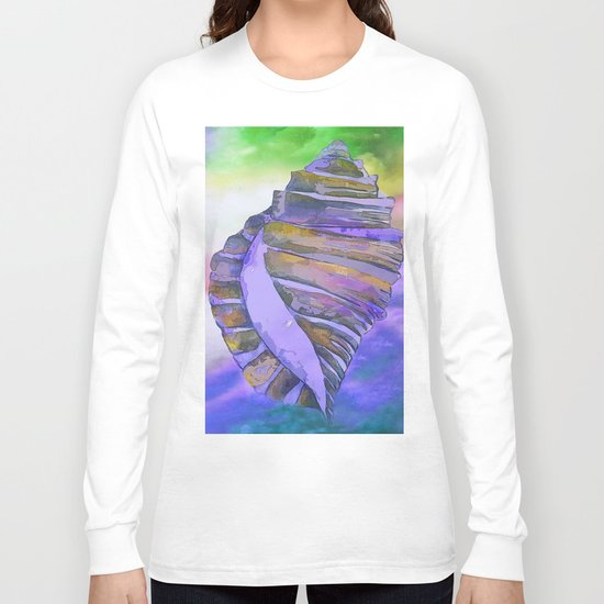 CONCH SEA SHELL PURPLE IMPRESSIONS Long Sleeve T-shirt
