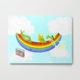 Rainbow Hammock Unicorn Metal Print