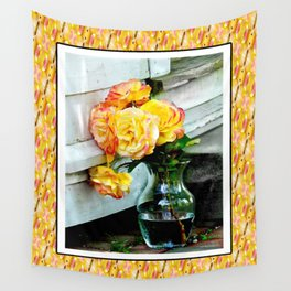 Good as Gold Roses in a vase with a patterned border Wall Tapestry