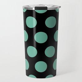 Colorful Mid Century Modern Polka Dots 528 Turquoise and Black Travel Mug