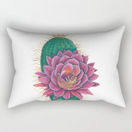 Crowned Cactus with Pink Flower Blossom Rectangular Pillow