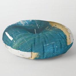 Rain [3]: a minimal, abstract mixed-media piece in blues, white, and gold by Alyssa Hamilton Art Floor Pillow