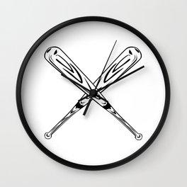 Baseball Bats Crossed making an X Wall Clock
