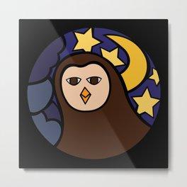Owl in the night mosaic Metal Print
