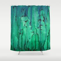 the life aquatic Shower Curtains featuring Aquatic by Ra Vandey