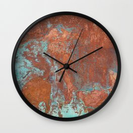 Tarnished Metal Copper Texture - Natural Marbling Industrial Art Wall Clock