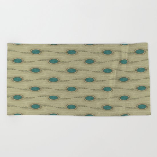 Teal Turquoise Circles Pattern Modern Abstract Beach Towel