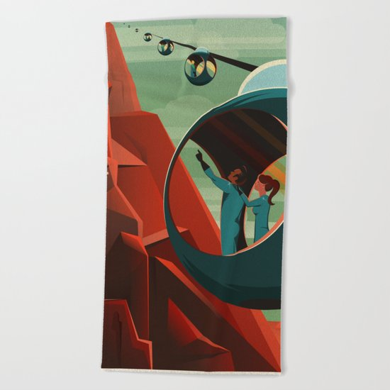 THE VOLCANO OF MARS - Olympus Mons | Space | X | Retro | Vintage | Futurism | Sci-Fi Beach Towel