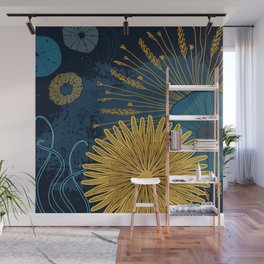 Navy floral background Wall Mural