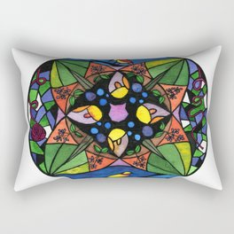 Watercolor Cat and Bird Stained Glass #1 by Artume Rectangular Pillow