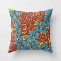 good vibes Throw Pillows featuring Good Vibes by Sarah J Bierman