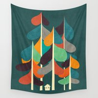 cabin Wall Tapestries featuring Cabin in the woods by Picomodi