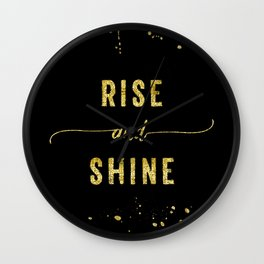 TEXT ART GOLD Rise and shine Wall Clock