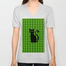 Black Cat on Luminous Green and Black Gingham Check Unisex V-Neck