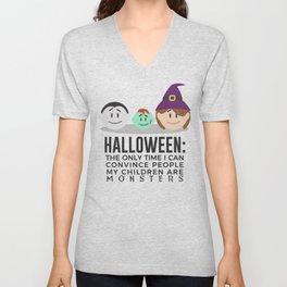 My Children Are Monsters Halloween Design Unisex V-Neck