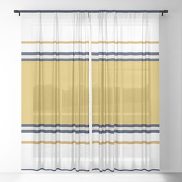 Wide and Thin Stripes Color Block Pattern in Mustard Yellow, Navy Blue, Champagne, and White Sheer Curtain