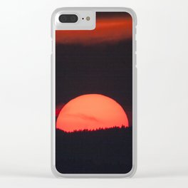 Red Sun Setting Over the Mountain Clear iPhone Case