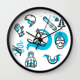 Snowboarding freestyle collection hand drawn set Wall Clock