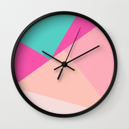 Pastel pink turquoise modern geometric color block pattern Wall Clock