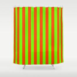 Super Bright Neon Orange and Green Vertical Beach Hut Stripes Shower Curtain