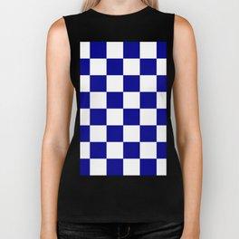 Large Checkered - White and Dark Blue Biker Tank