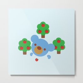 "Teddy theBlue Bear ""Apples"" Metal Print"