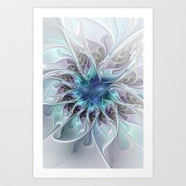 Flourish Abstract, Fantasy Flower Fractal Art Art Print