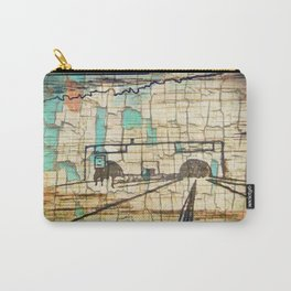 Distressed Compilation Carry-All Pouch