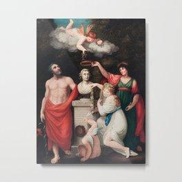 Robert John Thornton - Flora, Aesculapius, Ceres, with Cupid, Honoring the Bust of Linnaeus Metal Print