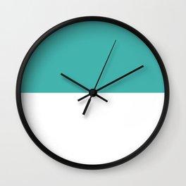 White and Verdigris Horizontal Halves Wall Clock