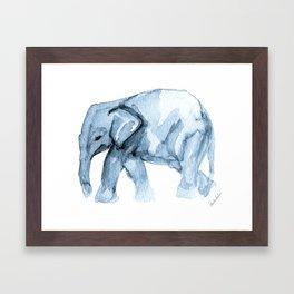 Elephant Sketch in Blue Framed Art Print