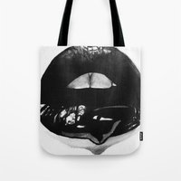 ink Tote Bags featuring Ink Lips by Mjenai