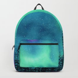 """""""Wilderness Lights"""" Aurora Borealis watercolor landscape painting Backpack"""