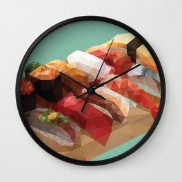 Nigiri Sushi Platter Polygon Art Wall Clock