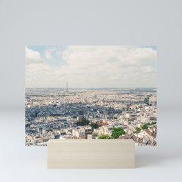 Eiffel Tower Aerial City View from Sacre Coeur Paris, France Mini Art Print