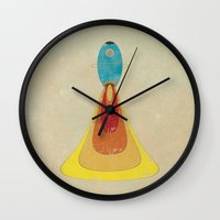 rocket Wall Clocks featuring Rocket by Metron