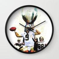 nfl Wall Clocks featuring Super New Orleans Saints NFL Football by jBowen