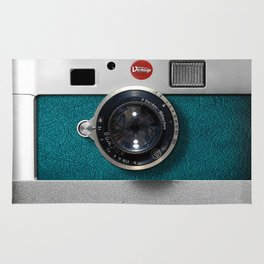 Blue Teal retro vintage camera with germany lens Rug