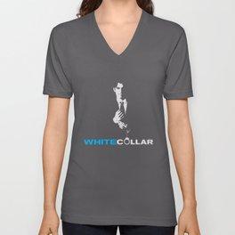 white collar Unisex V-Neck