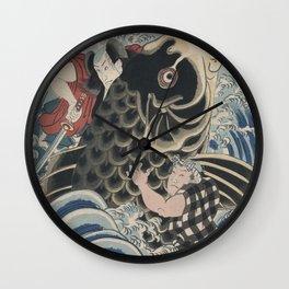Men fighting big fish Japanese Kuniyoshi 19th century Wall Clock