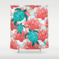 Sea Turtles in The Coral - Ocean Beach Marine Shower Curtain