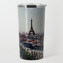 Paris Eiffel Tower Acrylics On Canvas Board Travel Mug