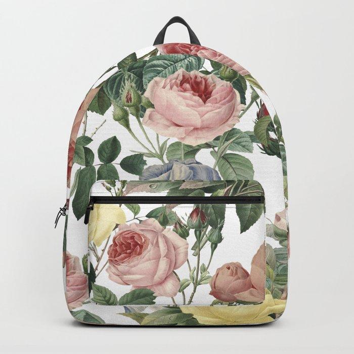 Vintage Roses and Iris Pattern - Flower Dreams by #UtART Backpack