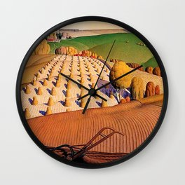 Classical Masterpiece 'Fall Plowing' by Grant Wood Wall Clock