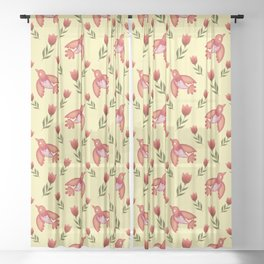 Pretty cute little wild canary birds, red blooming garden tulips, nature flowers bright sunny yellow pattern. Hello spring. Gifts for tulip lovers. Botanical floral artistic design. Sheer Curtain